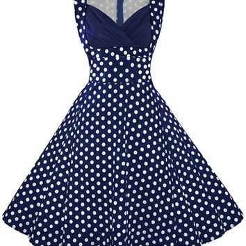 Atomic Vintage Blue Polka Dot Cocktail Dress