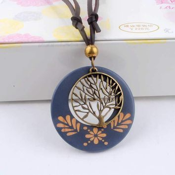 Vintage Long Rope Wooden Necklace Tree Pendants