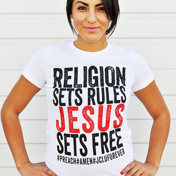 JCLU Forever Christian t-shirts — JESUS SETS FREE