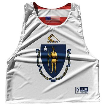 Massachusetts State Flag and American Flag Reversible Lacrosse Pinnie