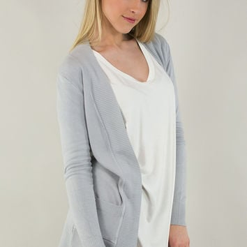 Open Front Basic Cardigan With Pockets