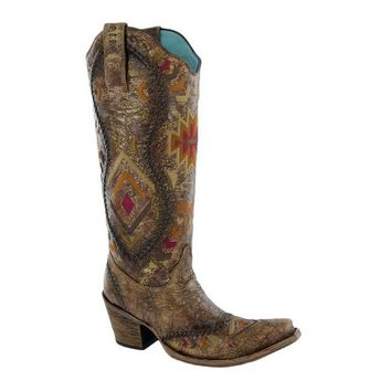 Corral Cognac Multicolor Ethnic Pattern Boots C2872