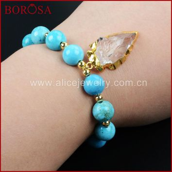 BOROSA Necklaces, Arrowhead Gold Color Rough Aura Quartz Crystal Bracelet With Blue Howlite Stone Beads Necklace G1169