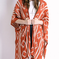 Orange Geometric Print Long Sleeve Cardigan