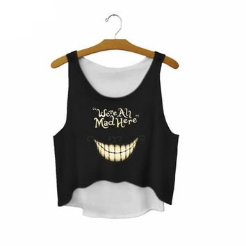 "We're Ah Mad Here"" - Women's Printed Sexy Sleeveless Cropped Shirts"