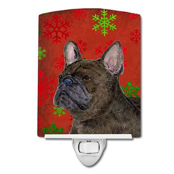 French Bulldog Red and Green Snowflakes Holiday Christmas Ceramic Night Light SS4726CNL