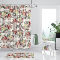 Floral Music Shower Curtain -  roses on sheet music, designer Decor  - bold retro roses, bathroom, modern musician's home, decor