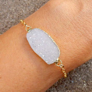 White Druzy Bracelet 14K Gold Snow Oval Quartz Crystal Drusy - Free Shipping Jewelry