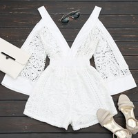 Plunging Neck Cold Shoulder Hollow Out Romper
