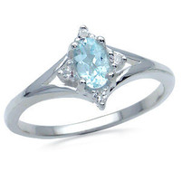 Natural Blue & White Topaz 925 Sterling Silver Ring RN0073165 SilverShake.com