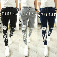 Men's Fashion Strong Character Alphabet Print Pants Sportswear Skinny Pants [6539649411]