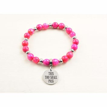 Genuine Agate Inspirational Bracelet - Pink - This Too Shall Pass
