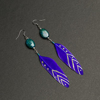 Purple earrings Feather earrings with chrysocolla gemstone Chevron pattern Native american Ethnic earrings Tribal earrings Summer earrings