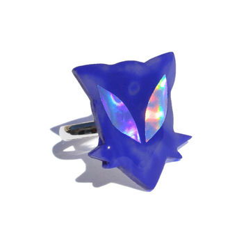 Alien Kitten Hologram Ring Jewelry // Kitty, Cat, Meow, Rawr, Alternative, Grunge, Distressed, 90s, Blurple, Blue, Purple, Holo, Statement