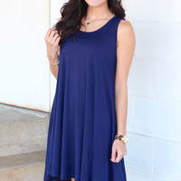 Basic Trapeze Tank Swing Dress {Navy}