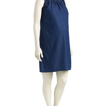 Old Navy Womens Embroidered Neck Chambray Dress
