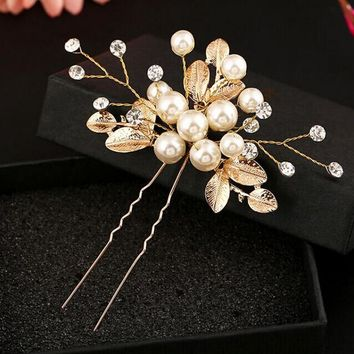 wedding pearty metal leaf with cream pearl beads braided handmade hair stick U shape hairpin hair accessories bride hair jewelry
