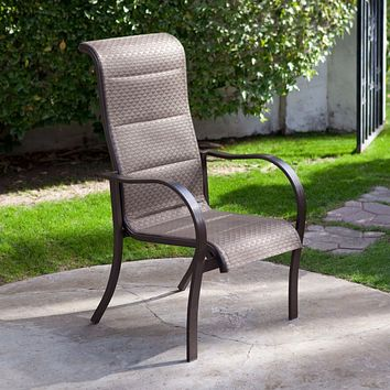 Set of 4- Stackable Outdoor Patio Dining Chairs with Bronze Padded Sling Seat and Back