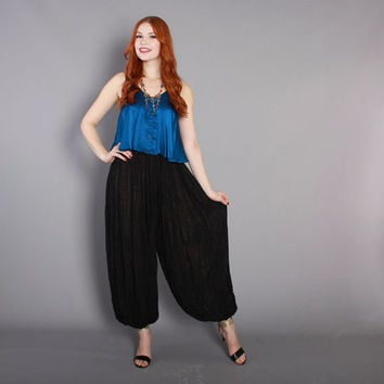 80s HAREM PANTS / 1980s Black Shimmer Stripe Dramatic Ethnic Festival Pants xs s