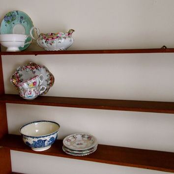 Vintage Wooden Plate Rack - Hanging Kitchen Shelf - Tiered Display - Country Rustic Primitive Decor