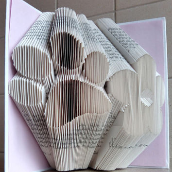 Dog Paw - Flower - Dog Lover - Animal Lover - Folded Book Art - Book Sculpture - Unique Present - Girlfriend Gift - Boyfriend Gift
