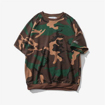 Vintage Men's Fashion Summer Round-neck Camouflage Fashion Casual Short Sleeve T-shirts [9790793859]