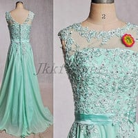 Long Mint Scoop Neckline Prom Dresses,Sheer Handmade Applique Homecoming  Dresses,Long A Line Chiffon Party Dresses,Junior Girl's Prom Dress