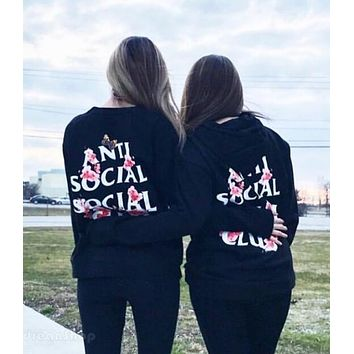 """Anti Social Social Club"" Fashionable Women Men Casual Cherry Blossom Butterfly Letter Print Hooded Couple Sweater Pullover Top Sweatshirt Black I13836-1"