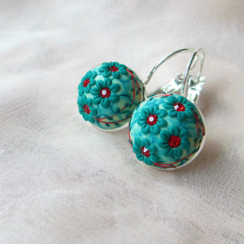Emerald Green Flower earrings by Lena Handmade Jewelry Holiday earrings Winter Jewelry Snow Christmas Gift Ideas for Her