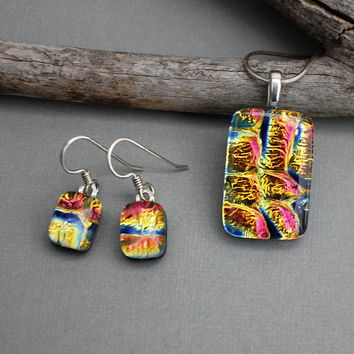 Dichroic Glass Jewelry Set - Unique Jewelry For Women - Fused Glass Jewelry - Mothers Day Jewelry Gift For Mom