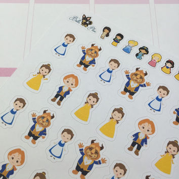 Beauty & the Beast Planner Stickers ~ Disney Inspired | Life Planner | EC | Erin Condren | Limelife | Inkwell | Plum | Kikki | Decorative