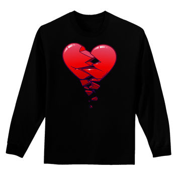 Crumbling Broken Heart Adult Long Sleeve Dark T-Shirt