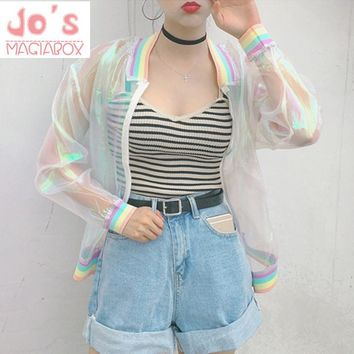 Harajuku bomber color Women Jacket Coats Laser Rainbow Symphony Hologram Coat Clear Iridescent Transparent Jersey Jacket