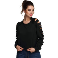 Casual Cut Out Long Sleeve Sweat Shirt
