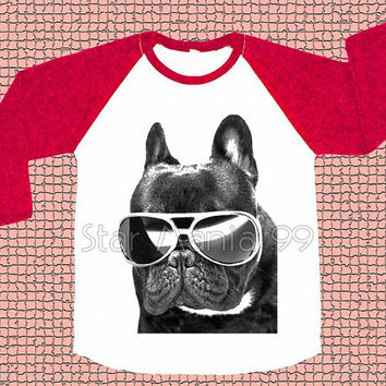French Bulldog Glasses TShirt Dog TShirt Animal TShirt Baseball Tee Red Sleeve Tee Long Sleeve Shirt Women T-Shirt Unisex T-Shirt Size S,M,L