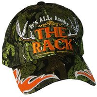 Mens Baseball Cap Hunting Hat IT'S ALL ABOUT THE RACK with Antlers Camo