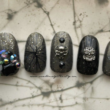 Gothic Nail Art. Lost Byway. Gothic, Fake Nail, 3D Japanese Nail Art, Goth, Gothic Lolita, Press On Nail, Acrylic Nail, False Nail, 3D Nail