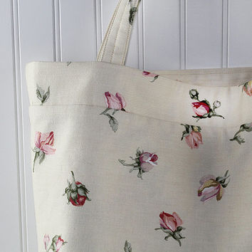 Rose Buds Floral Print Tote Bag or Market Bag, Fruit Print Bag, Reusable Grocery Bag, MK136
