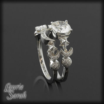 Moon and Stars Diamond Engagement Ring and Wedding Set - LS1309