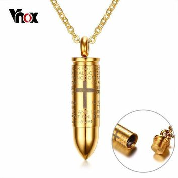 Bullet Pendant Engraved Cross Lord Bible Prayer Necklace Stainless Steel