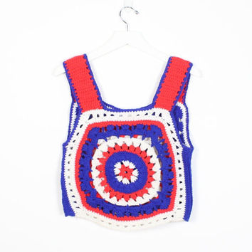 Vintage 70s Tank Top Red White Blue Crochet Knit Sleeveless Sweater Granny Squares Jumper 1970s Crop Top Hippie Shirt Boho S Small M Medium