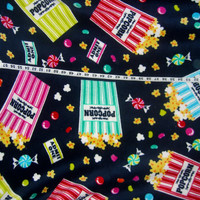 Popcorn movie candy fleece fabric jellybean polyester quilt quilting sewing material to sew crafting by the yard