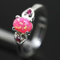 Pink Fire Opal and Double Heart CZ Sterling Silver Ring - New!
