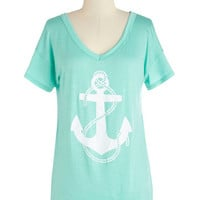 ModCloth Nautical Mid-length Short Sleeves My Coeur, My Anchor Tee