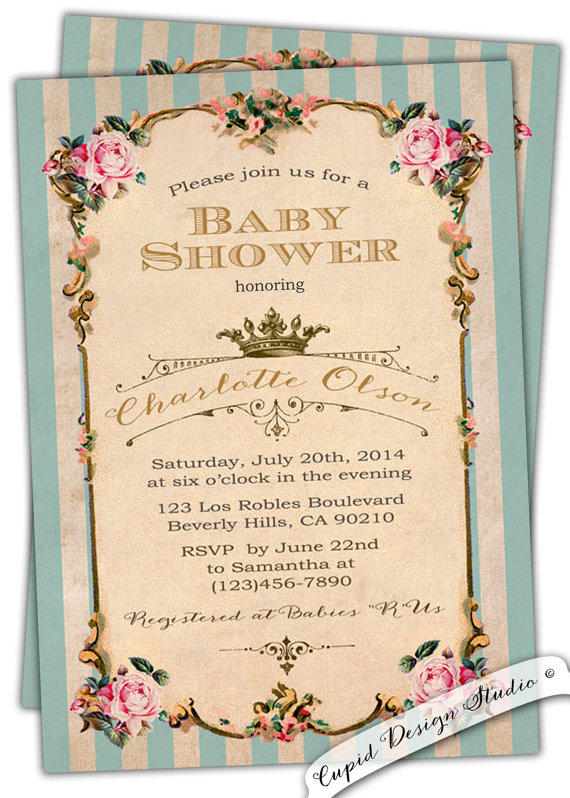 French royal baby shower invitation tea from cupiddesigns on filmwisefo