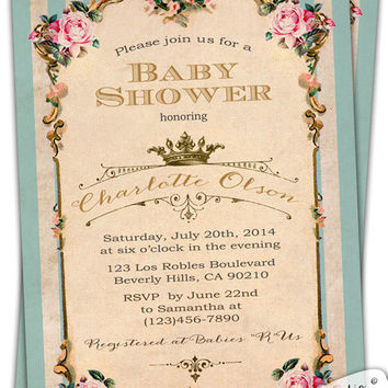 French Royal Baby Shower Invitation. Tea Party. Birthday. Roses. Shabby Chic. Garden. Stripes Princess Marie Antoinette Bridal printable diy