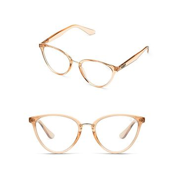 Quay Australia - Rumours Cat Eye Glasses - Light Champagne/Clear
