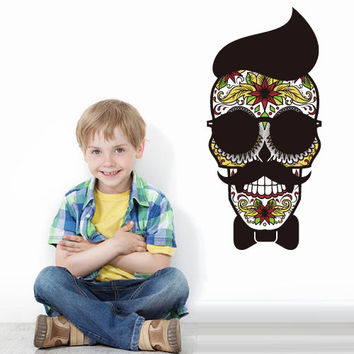 Full Color Wall Decal Mural Sticker Decor Art Beautyfull Cute Sugar Hipster Skull Bedroom Curly modern fashion (col763)