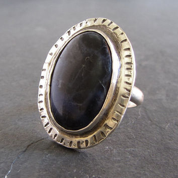 Sterling silver and sodalite ring // gemstone ring / statement ring / unique ring / rustic ring / large ring / silver ring / artisan ring