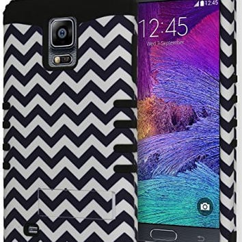 Samsung Galaxy Note 4, Hybrid Black and White Chevron Kickstand Case Cover
